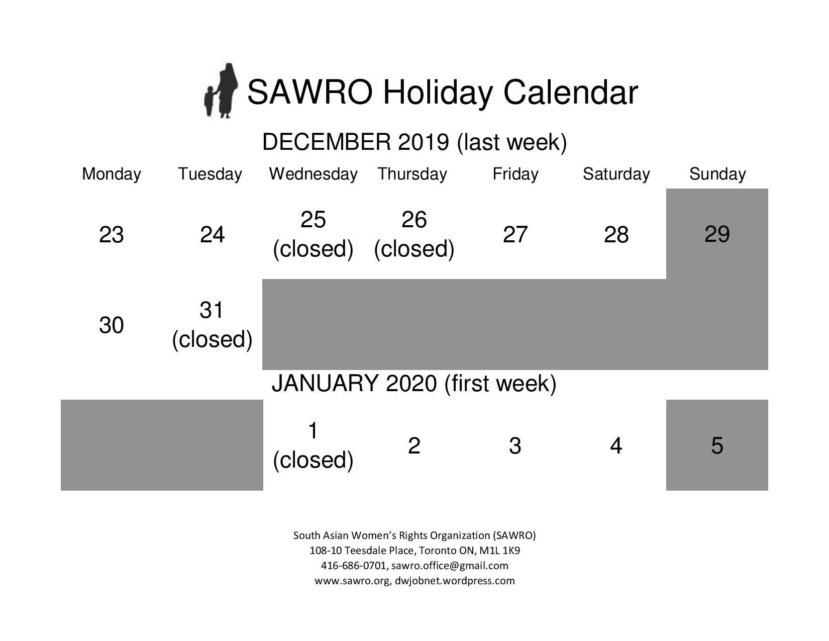 SAWRO Holiday Calendar!